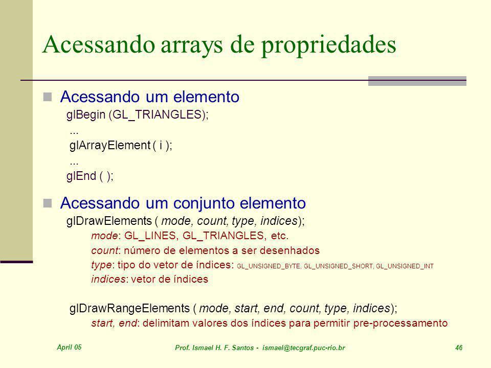 April 05 Prof. Ismael H. F. Santos - ismael@tecgraf.puc-rio.br 46 Acessando arrays de propriedades Acessando um elemento glBegin (GL_TRIANGLES);... gl