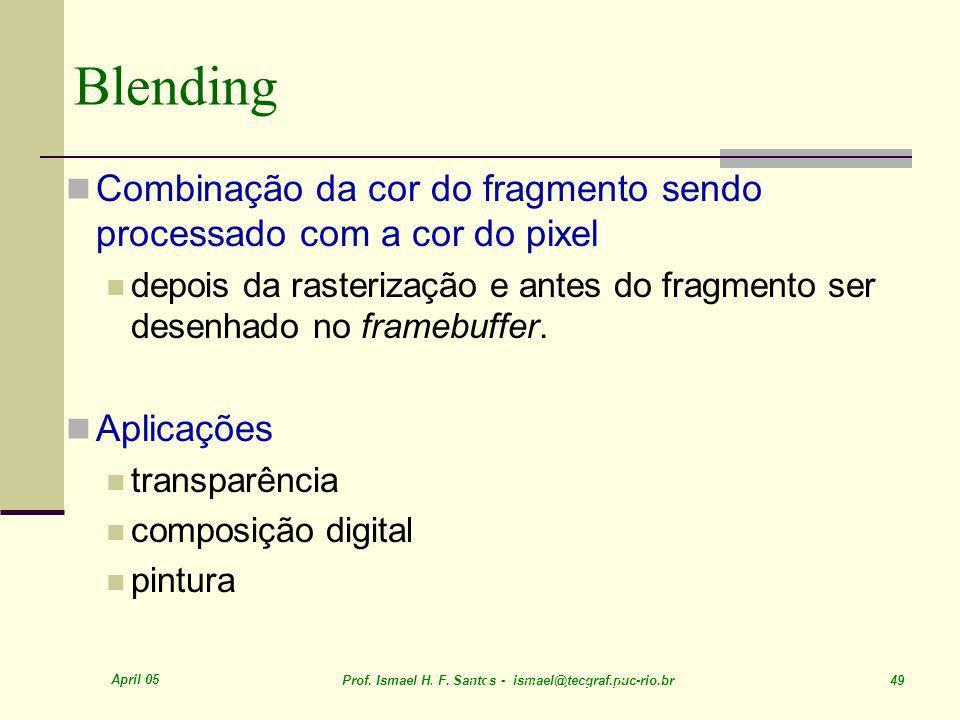 April 05 Prof. Ismael H. F. Santos - ismael@tecgraf.puc-rio.br 49 Blending Combinação da cor do fragmento sendo processado com a cor do pixel depois d