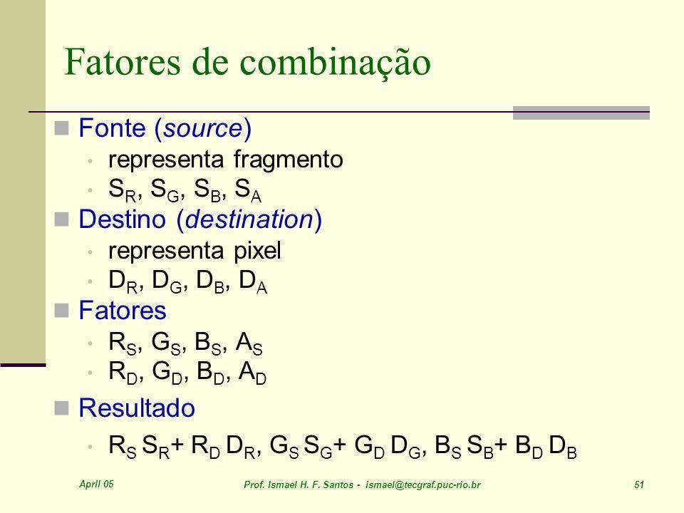 April 05 Prof. Ismael H. F. Santos - ismael@tecgraf.puc-rio.br 51 Fonte (source) representa fragmento S R, S G, S B, S A Destino (destination) represe