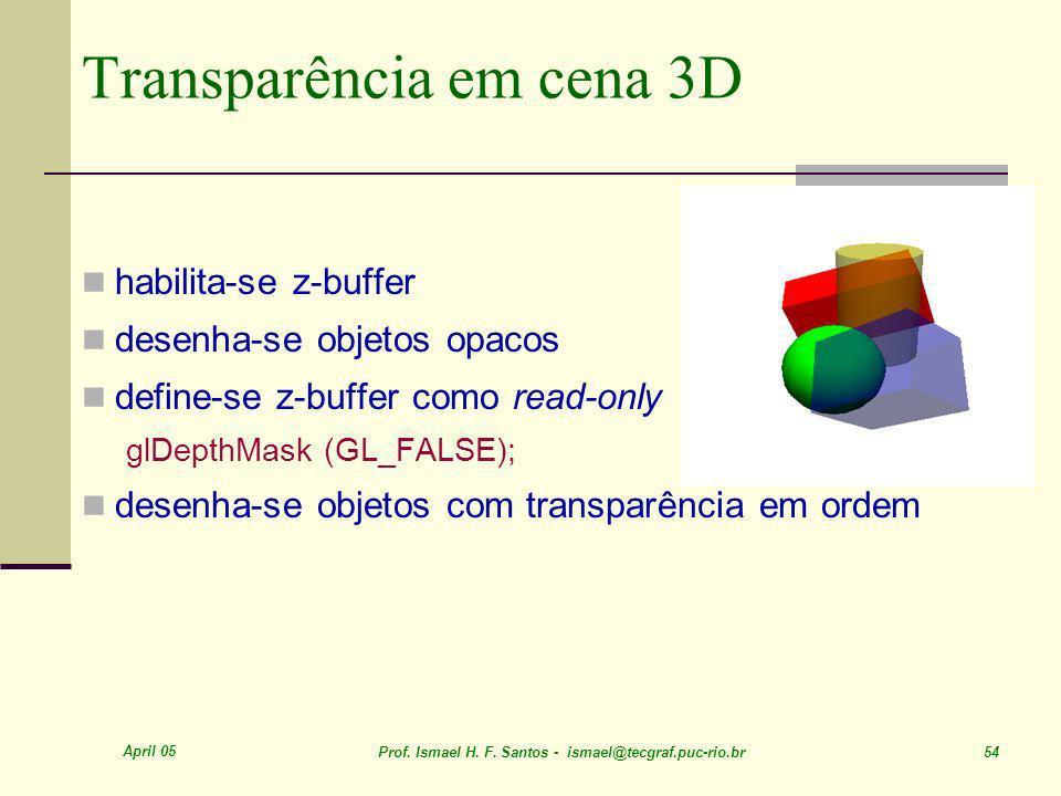 April 05 Prof. Ismael H. F. Santos - ismael@tecgraf.puc-rio.br 54 Transparência em cena 3D habilita-se z-buffer desenha-se objetos opacos define-se z-