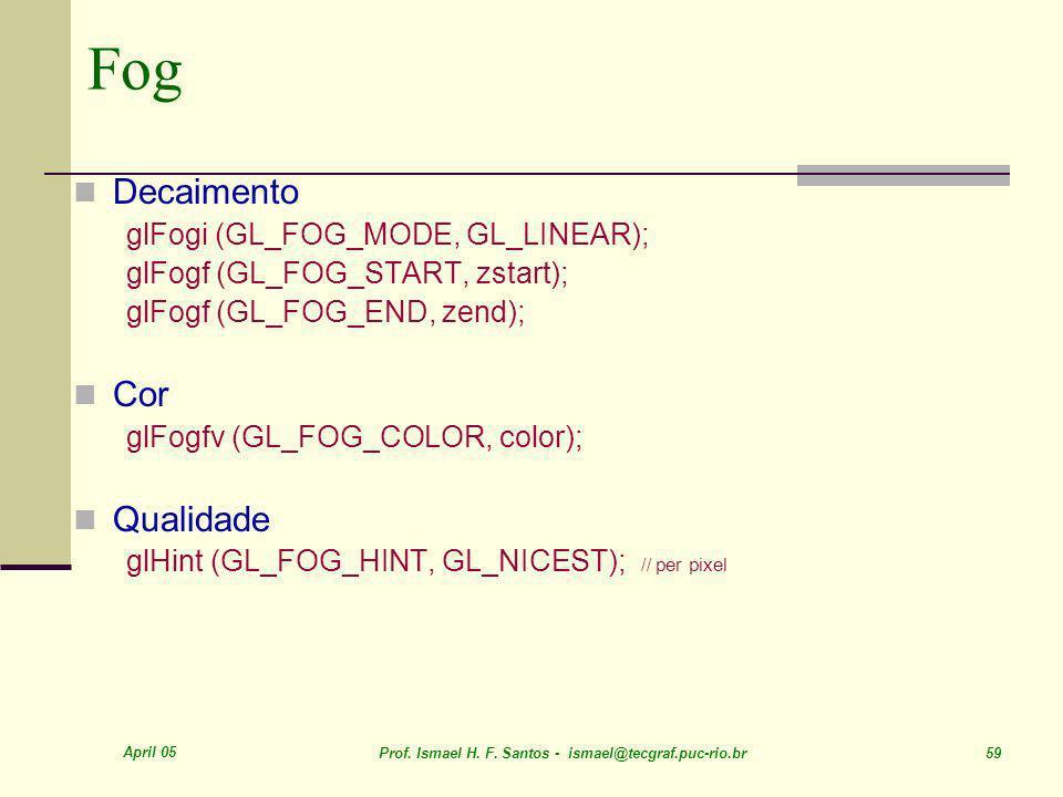 April 05 Prof. Ismael H. F. Santos - ismael@tecgraf.puc-rio.br 59 Fog Decaimento glFogi (GL_FOG_MODE, GL_LINEAR); glFogf (GL_FOG_START, zstart); glFog