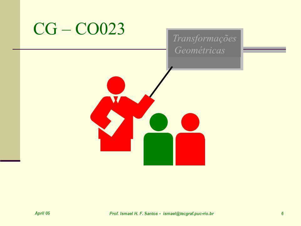 April 05 Prof. Ismael H. F. Santos - ismael@tecgraf.puc-rio.br 6 Transformações Geométricas CG – CO023