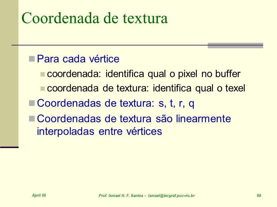April 05 Prof. Ismael H. F. Santos - ismael@tecgraf.puc-rio.br 69 Coordenada de textura Para cada vértice coordenada: identifica qual o pixel no buffe