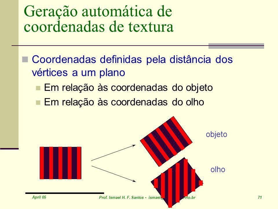 April 05 Prof. Ismael H. F. Santos - ismael@tecgraf.puc-rio.br 71 Geração automática de coordenadas de textura Coordenadas definidas pela distância do