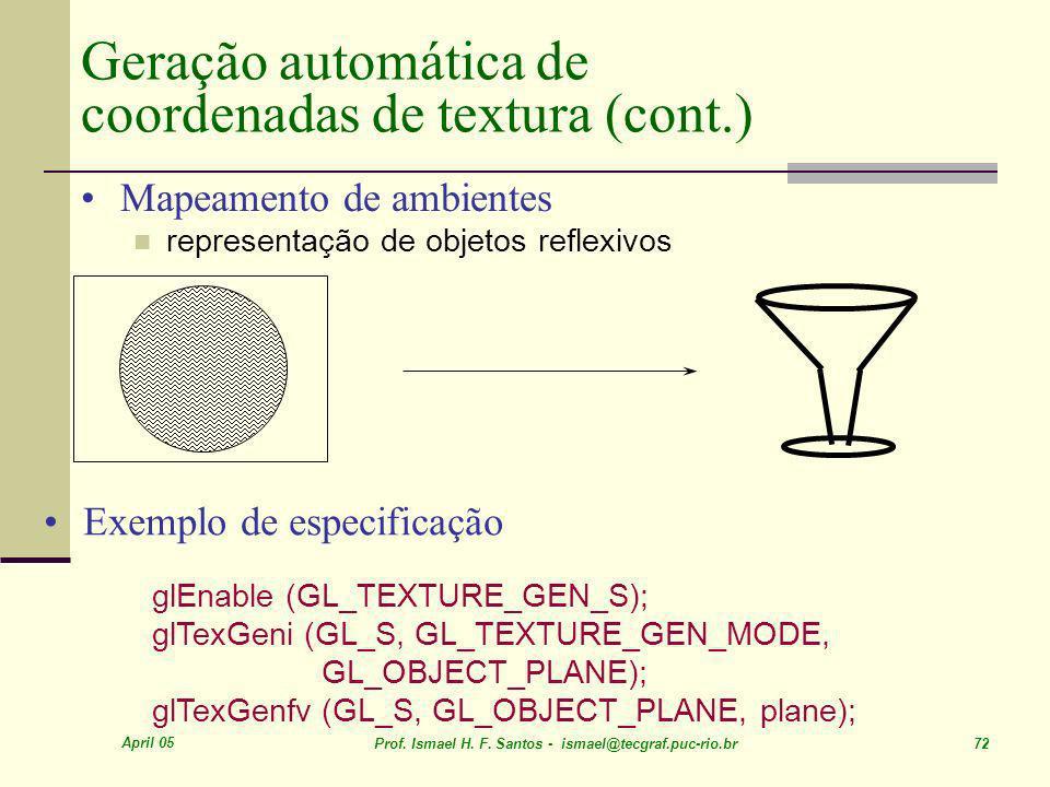 April 05 Prof. Ismael H. F. Santos - ismael@tecgraf.puc-rio.br 72 Geração automática de coordenadas de textura (cont.) Mapeamento de ambientes represe