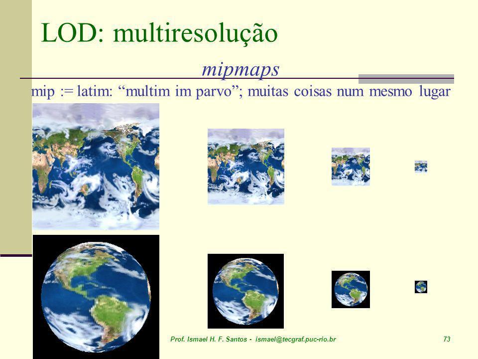 April 05 Prof. Ismael H. F. Santos - ismael@tecgraf.puc-rio.br 73 LOD: multiresolução mipmaps mip := latim: multim im parvo; muitas coisas num mesmo l