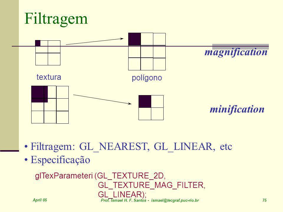 April 05 Prof. Ismael H. F. Santos - ismael@tecgraf.puc-rio.br 75 Filtragem textura polígono magnification minification Filtragem: GL_NEAREST, GL_LINE