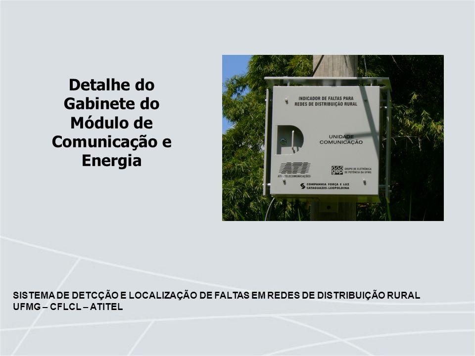 SISTEMA DE DETCÇÃO E LOCALIZAÇÃO DE FALTAS EM REDES DE DISTRIBUIÇÃO RURAL UFMG – CFLCL – ATITEL Detalhe do Gabinete do Módulo de Comunicação e Energia