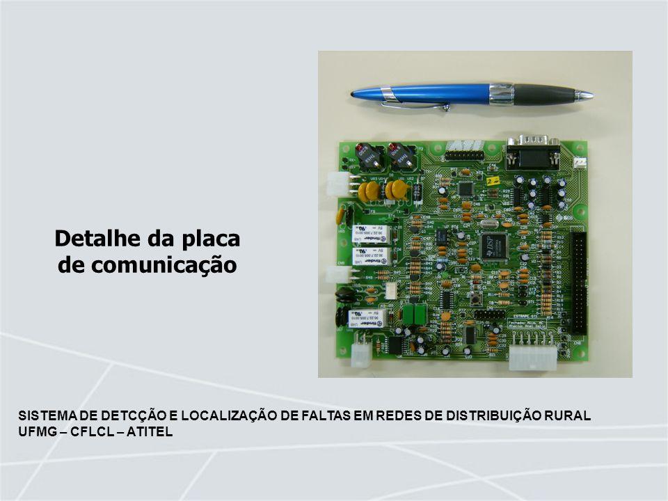 SISTEMA DE DETCÇÃO E LOCALIZAÇÃO DE FALTAS EM REDES DE DISTRIBUIÇÃO RURAL UFMG – CFLCL – ATITEL Detalhe da placa de comunicação