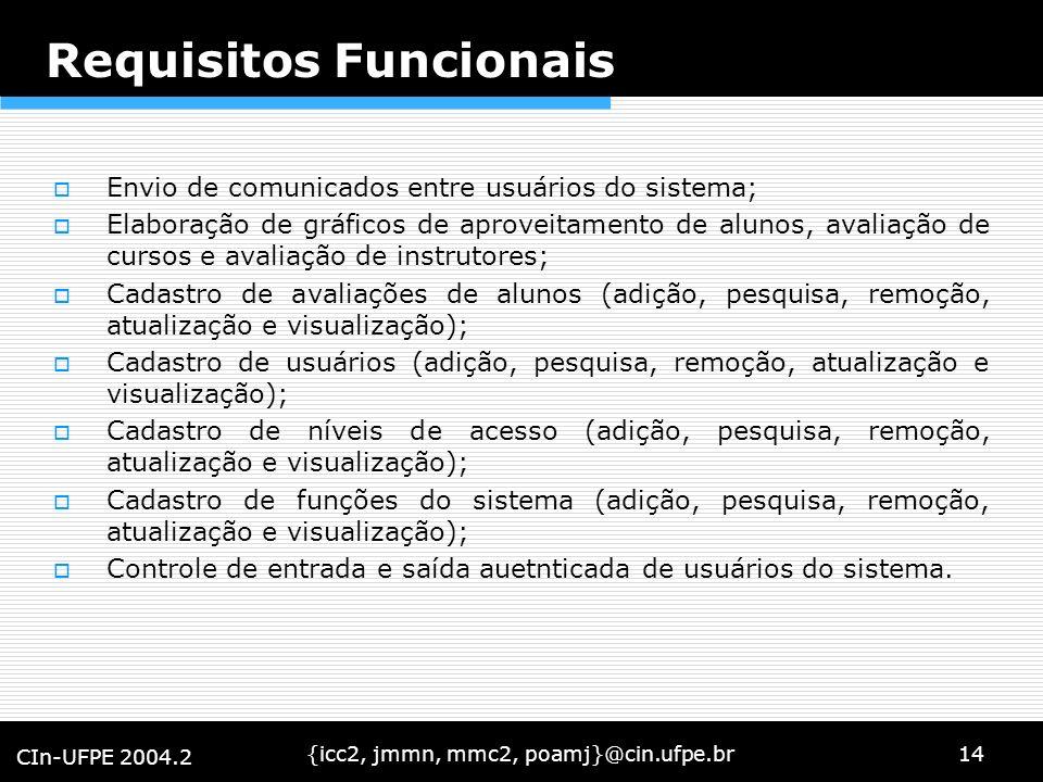 {icc2, jmmn, mmc2, poamj}@cin.ufpe.br14 CIn-UFPE 2004.2 Requisitos Funcionais Envio de comunicados entre usuários do sistema; Elaboração de gráficos d