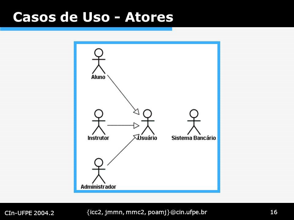 {icc2, jmmn, mmc2, poamj}@cin.ufpe.br16 CIn-UFPE 2004.2 Casos de Uso - Atores