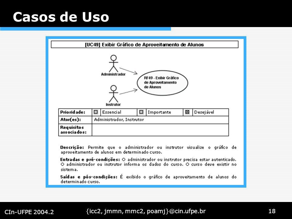 {icc2, jmmn, mmc2, poamj}@cin.ufpe.br18 CIn-UFPE 2004.2 Casos de Uso