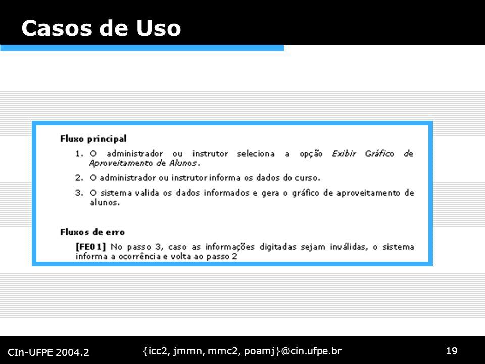 {icc2, jmmn, mmc2, poamj}@cin.ufpe.br19 CIn-UFPE 2004.2 Casos de Uso