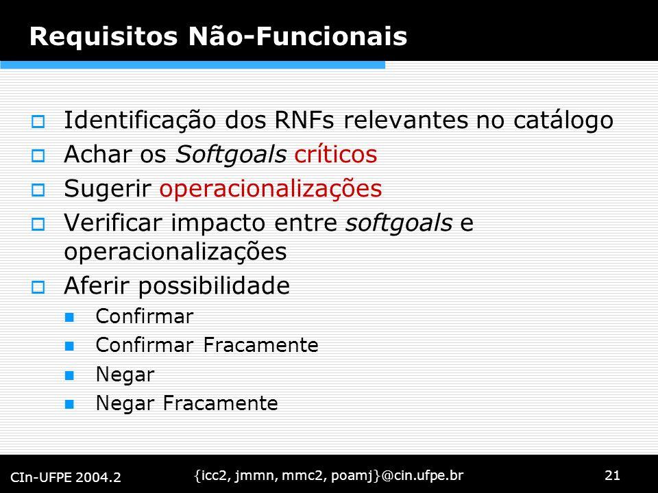 {icc2, jmmn, mmc2, poamj}@cin.ufpe.br21 CIn-UFPE 2004.2 Requisitos Não-Funcionais Identificação dos RNFs relevantes no catálogo Achar os Softgoals crí