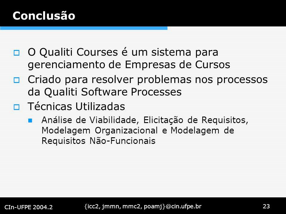 {icc2, jmmn, mmc2, poamj}@cin.ufpe.br23 CIn-UFPE 2004.2 Conclusão O Qualiti Courses é um sistema para gerenciamento de Empresas de Cursos Criado para