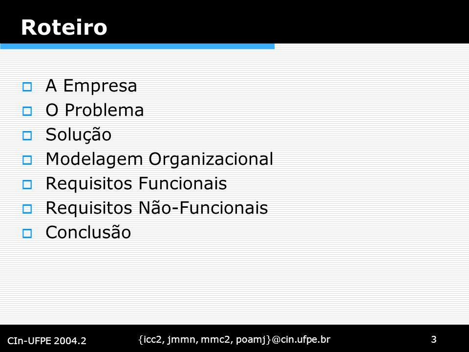 {icc2, jmmn, mmc2, poamj}@cin.ufpe.br3 CIn-UFPE 2004.2 Roteiro A Empresa O Problema Solução Modelagem Organizacional Requisitos Funcionais Requisitos