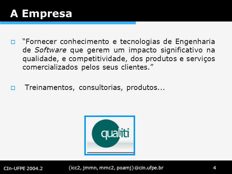 {icc2, jmmn, mmc2, poamj}@cin.ufpe.br4 CIn-UFPE 2004.2 A Empresa Fornecer conhecimento e tecnologias de Engenharia de Software que gerem um impacto si