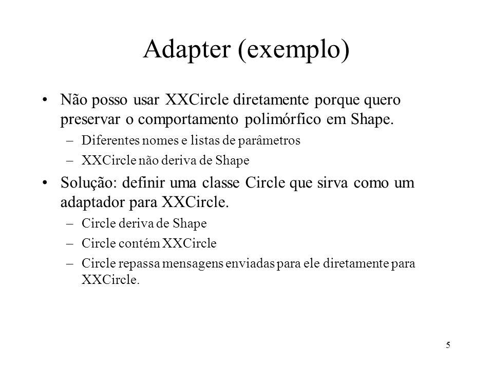 5 Adapter (exemplo) Não posso usar XXCircle diretamente porque quero preservar o comportamento polimórfico em Shape. –Diferentes nomes e listas de par