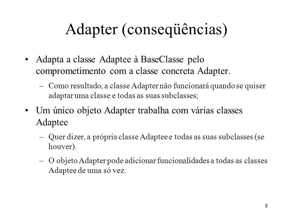 8 Adapter (conseqüências) Adapta a classe Adaptee à BaseClasse pelo comprometimento com a classe concreta Adapter. –Como resultado, a classe Adapter n