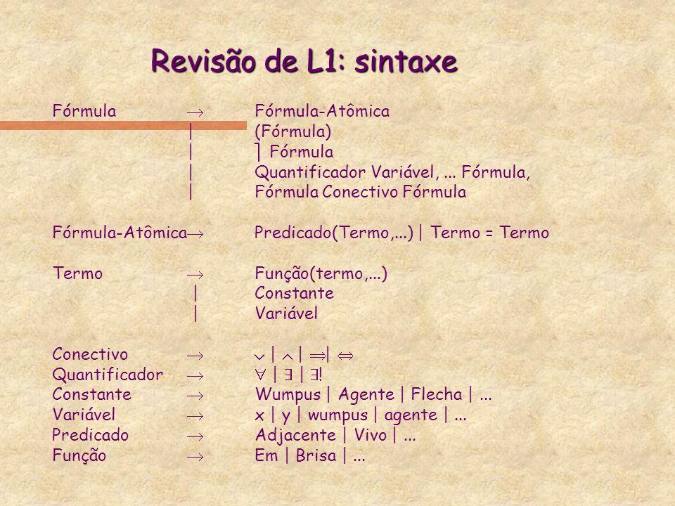 Revisão de L1: sintaxe Fórmula Fórmula-Atômica | (Fórmula) | Fórmula |Quantificador Variável,... Fórmula, | Fórmula Conectivo Fórmula Fórmula-Atômica