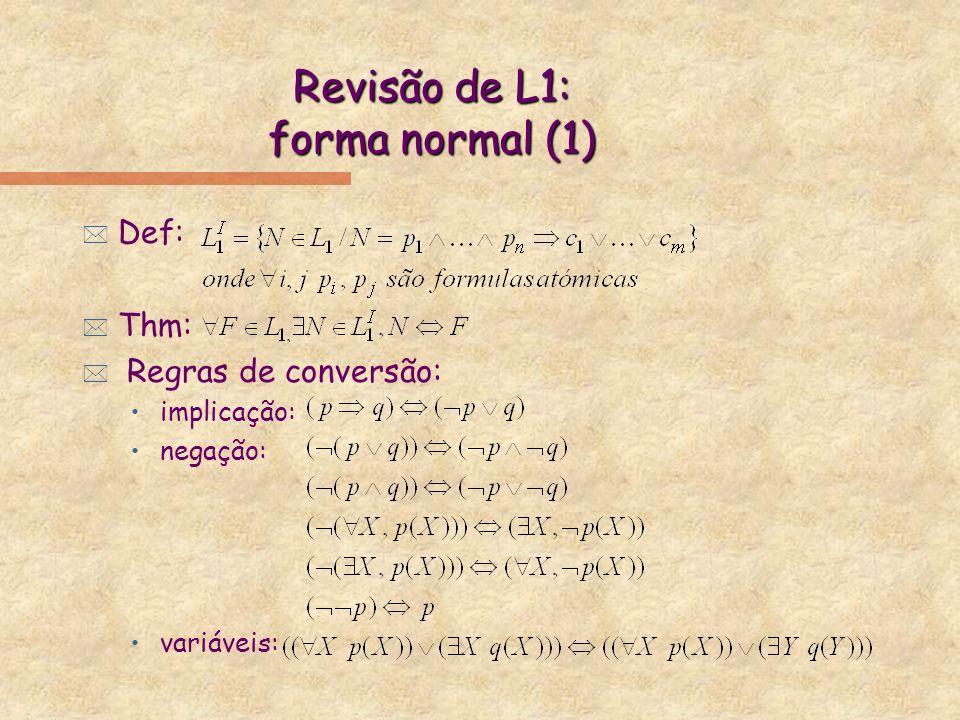 Revisão de L1: forma normal (1) * Def: * Thm: * Regras de conversão: implicação: negação: variáveis: