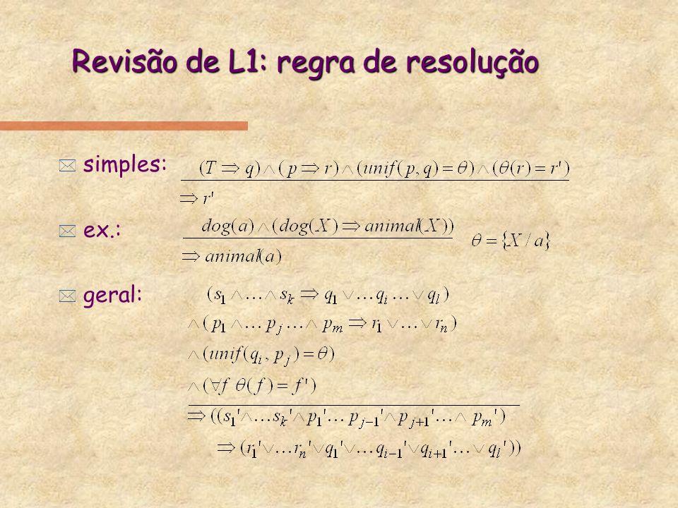 Revisão de L1: regra de resolução * simples: * ex.: * geral: