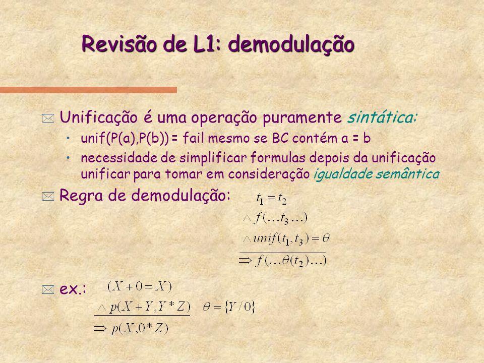 Revisão de L1: demodulação * Unificação é uma operação puramente sintática: unif(P(a),P(b)) = fail mesmo se BC contém a = b necessidade de simplificar