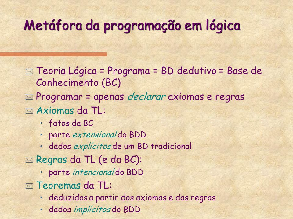 Metáfora da programação em lógica * Teoria Lógica = Programa = BD dedutivo = Base de Conhecimento (BC) * Programar = apenas declarar axiomas e regras