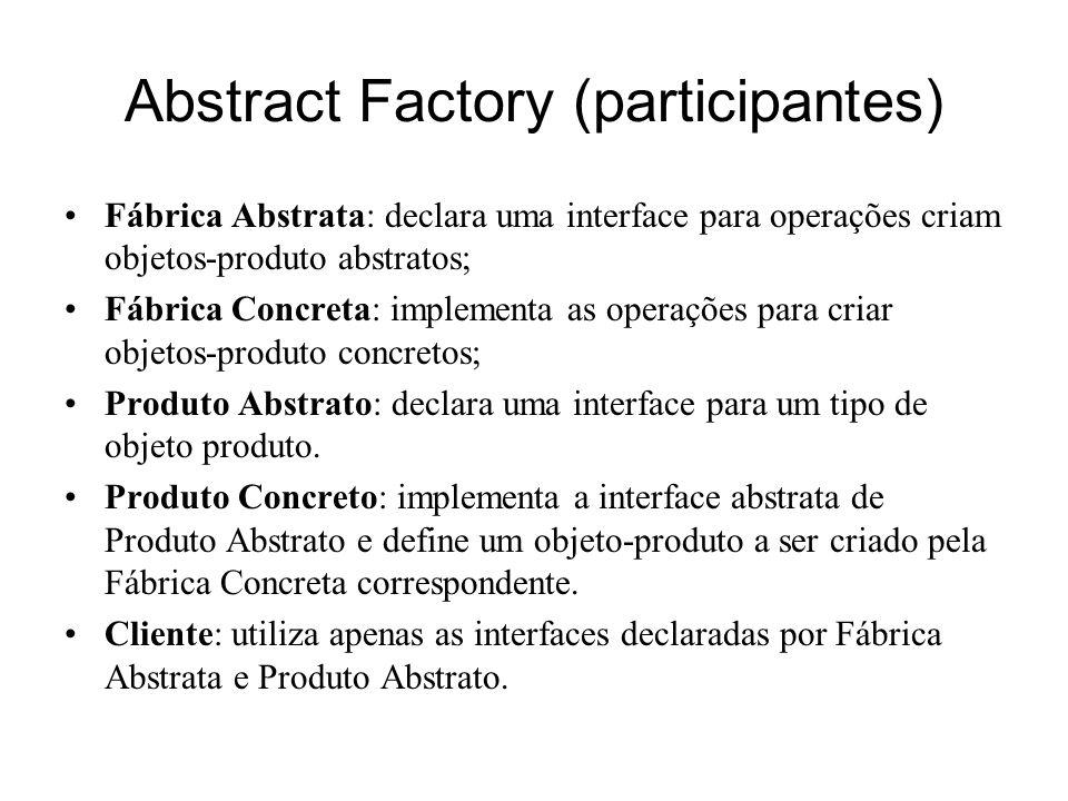 Abstract Factory (conseqüências) Isola classes concretas: uma vez que uma fábrica encapsula a responsabilidade e o processo de criação de objetos-produto, ela isola clientes das classes de implementação.