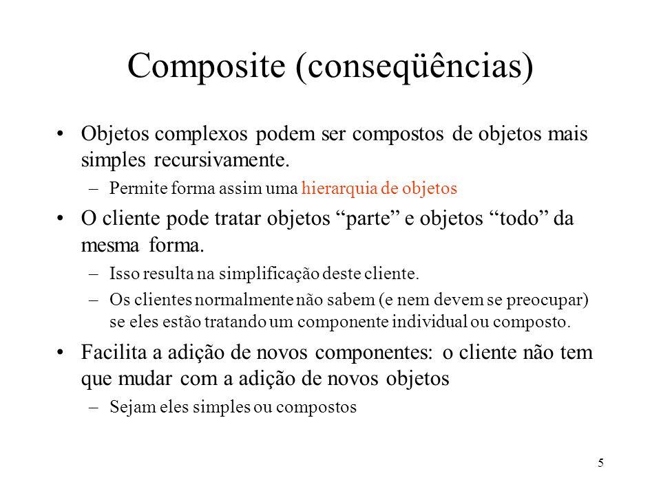 5 Composite (conseqüências) Objetos complexos podem ser compostos de objetos mais simples recursivamente. –Permite forma assim uma hierarquia de objet