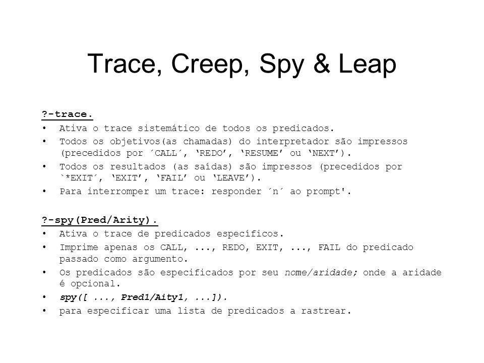 Trace, Creep, Spy & Leap ?-trace. Ativa o trace sistemático de todos os predicados. Todos os objetivos(as chamadas) do interpretador são impressos (pr
