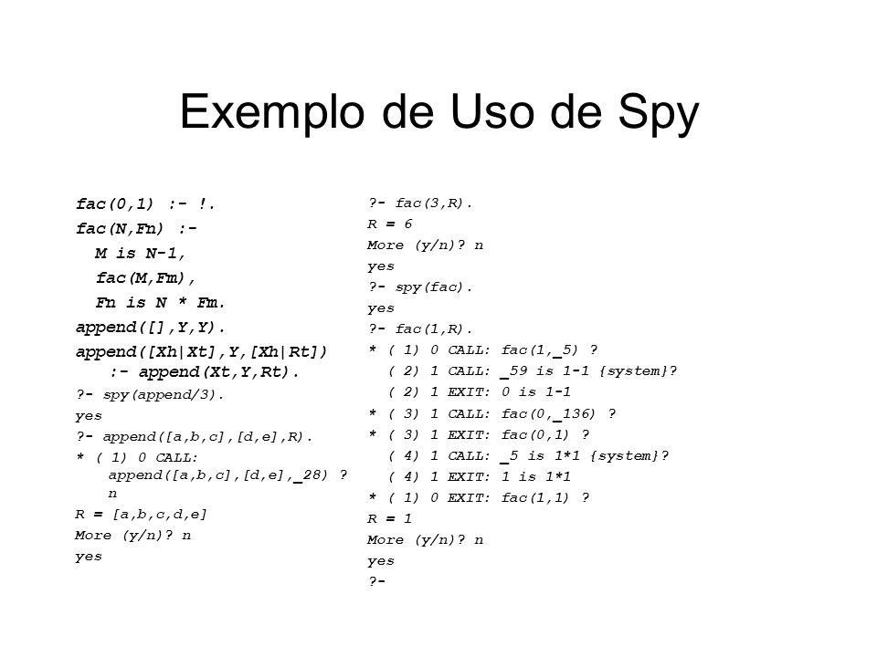 Exemplo de Uso de Spy fac(0,1) :- !. fac(N,Fn) :- M is N-1, fac(M,Fm), Fn is N * Fm. append([],Y,Y). append([Xh|Xt],Y,[Xh|Rt]) :- append(Xt,Y,Rt). ?-