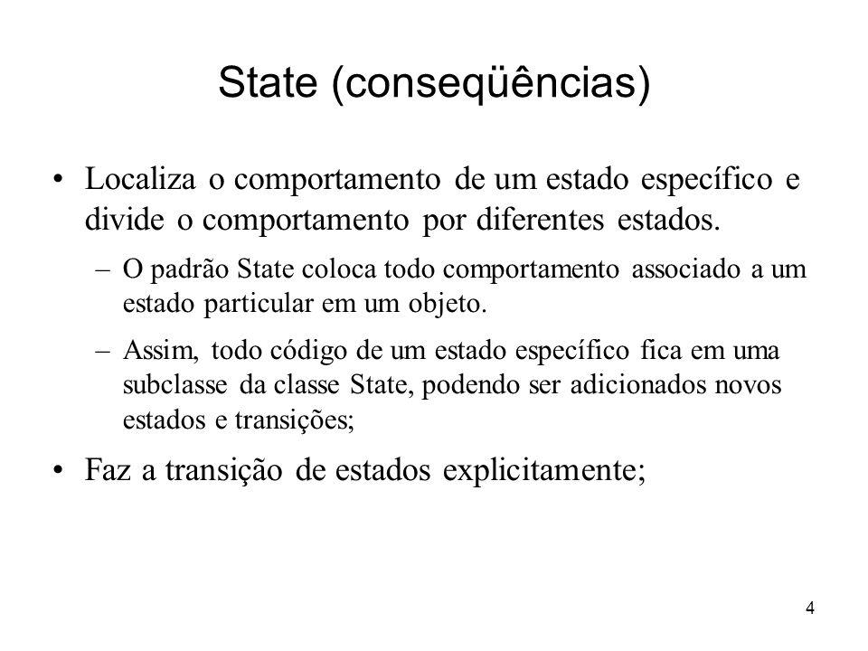 5 State (aplicabilidade) Quando o comportamento de um objeto depende de seu estado, e este comportamento deve ser mudado em tempo de execução conforme as mudanças ocorridas em seu estado; Quando operações possuem comandos condicionais muito grandes, que dependem do estado do objeto.