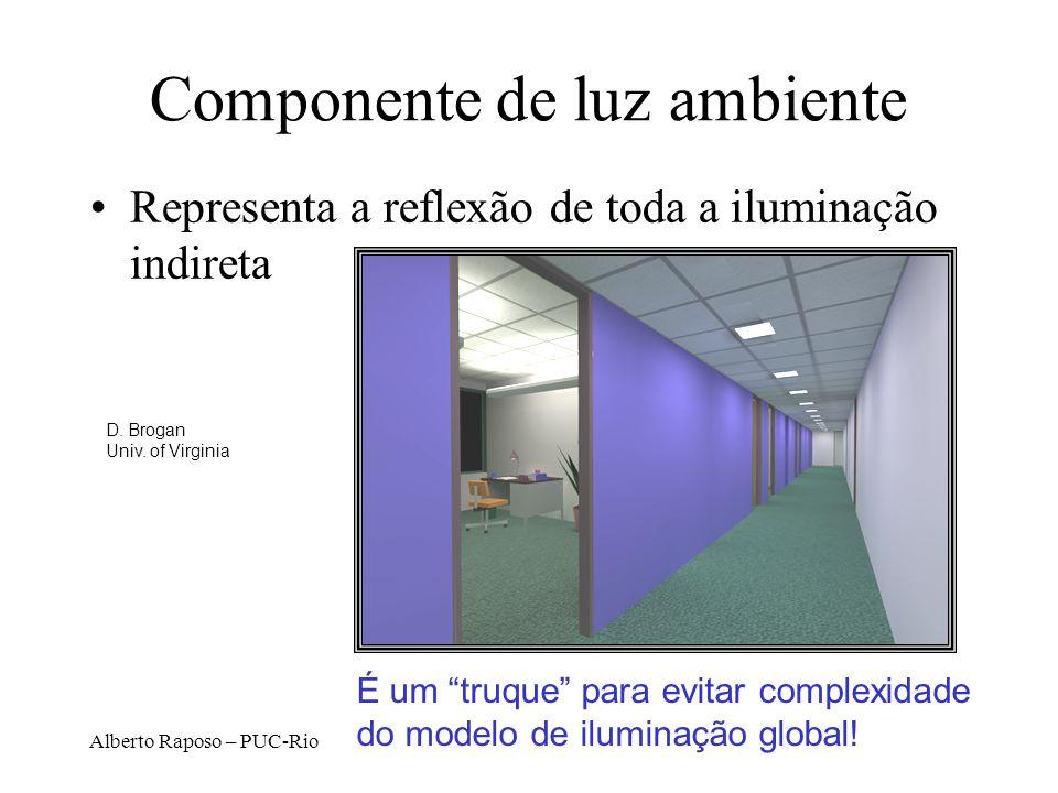 Alberto Raposo – PUC-Rio Componente de luz ambiente É um truque para evitar complexidade do modelo de iluminação global.