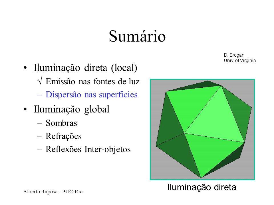 Alberto Raposo – PUC-Rio Sumário Iluminação direta (local) Emissão nas fontes de luz –Dispersão nas superfícies Iluminação global –Sombras –Refrações –Reflexões Inter-objetos Iluminação direta D.