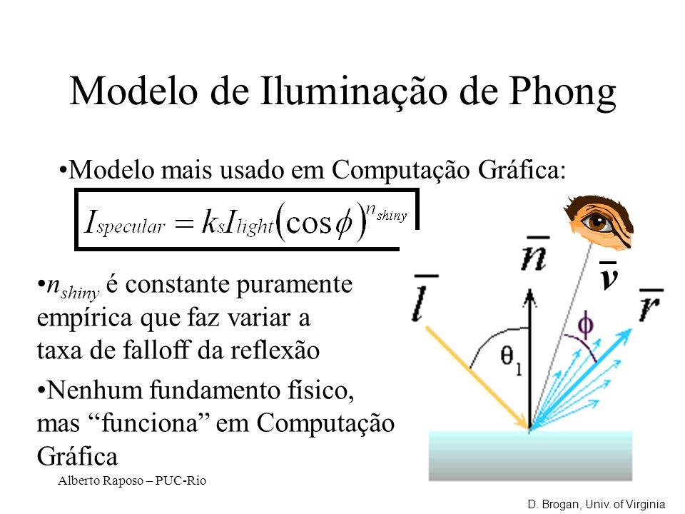 Alberto Raposo – PUC-Rio Modelo de Iluminação de Phong Modelo mais usado em Computação Gráfica: n shiny é constante puramente empírica que faz variar a taxa de falloff da reflexão Nenhum fundamento físico, mas funciona em Computação Gráfica v D.