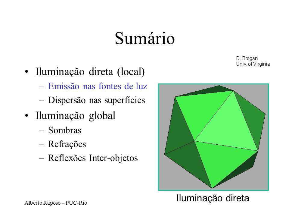 Alberto Raposo – PUC-Rio Sumário Iluminação direta (local) –Emissão nas fontes de luz –Dispersão nas superfícies Iluminação global –Sombras –Refrações –Reflexões Inter-objetos Iluminação direta D.