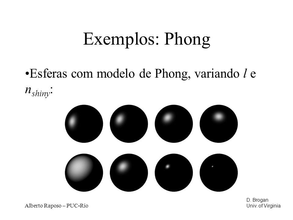 Alberto Raposo – PUC-Rio Exemplos: Phong Esferas com modelo de Phong, variando l e n shiny : D.