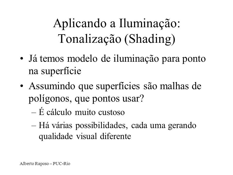 Alberto Raposo – PUC-Rio Aplicando a Iluminação: Tonalização (Shading) Já temos modelo de iluminação para ponto na superfície Assumindo que superfícies são malhas de polígonos, que pontos usar.