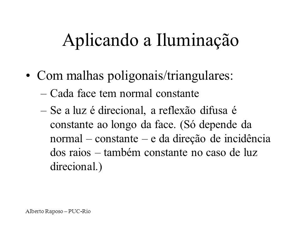Alberto Raposo – PUC-Rio Aplicando a Iluminação Com malhas poligonais/triangulares: –Cada face tem normal constante –Se a luz é direcional, a reflexão difusa é constante ao longo da face.