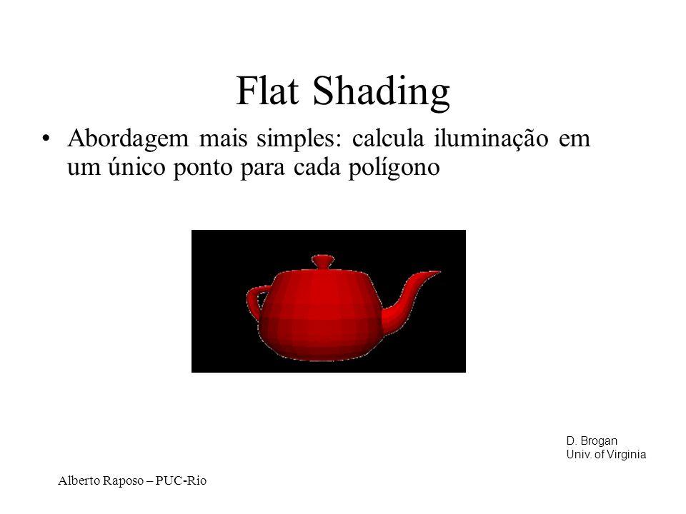 Alberto Raposo – PUC-Rio Flat Shading Abordagem mais simples: calcula iluminação em um único ponto para cada polígono D.