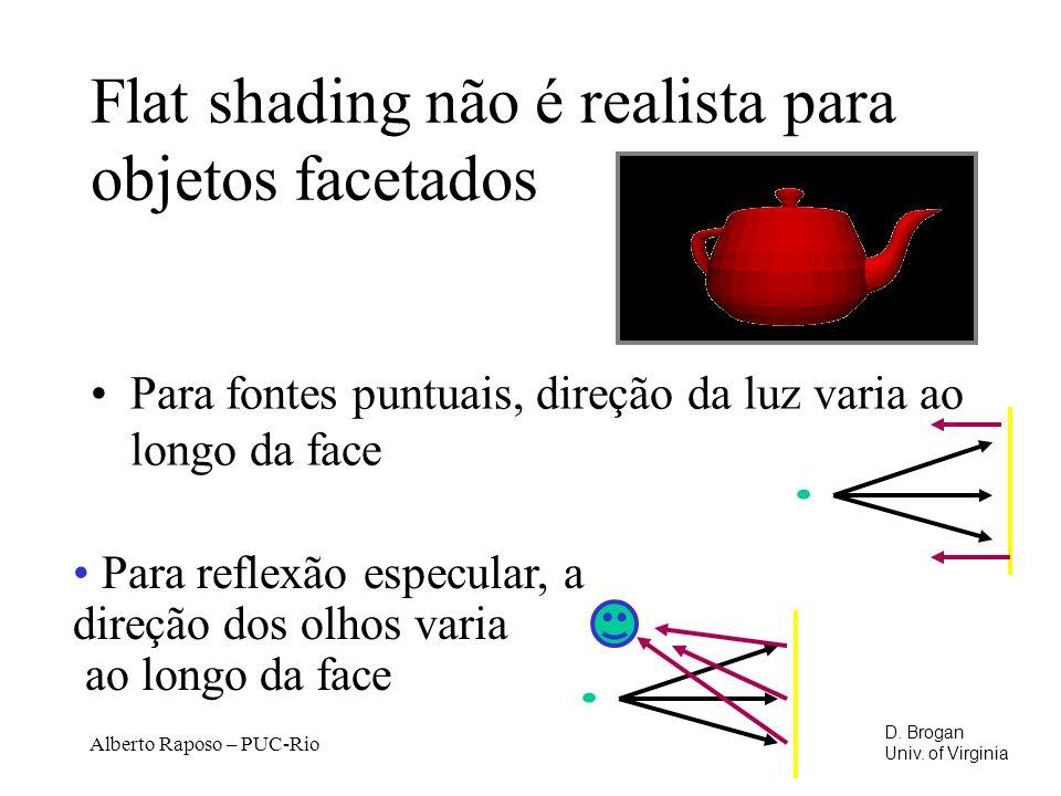 Alberto Raposo – PUC-Rio Flat shading não é realista para objetos facetados Para fontes puntuais, direção da luz varia ao longo da face Para reflexão especular, a direção dos olhos varia ao longo da face D.