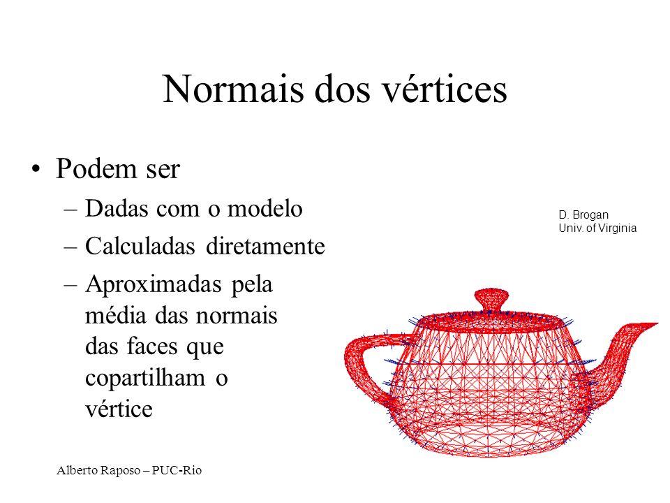 Alberto Raposo – PUC-Rio Normais dos vértices Podem ser –Dadas com o modelo –Calculadas diretamente –Aproximadas pela média das normais das faces que copartilham o vértice D.