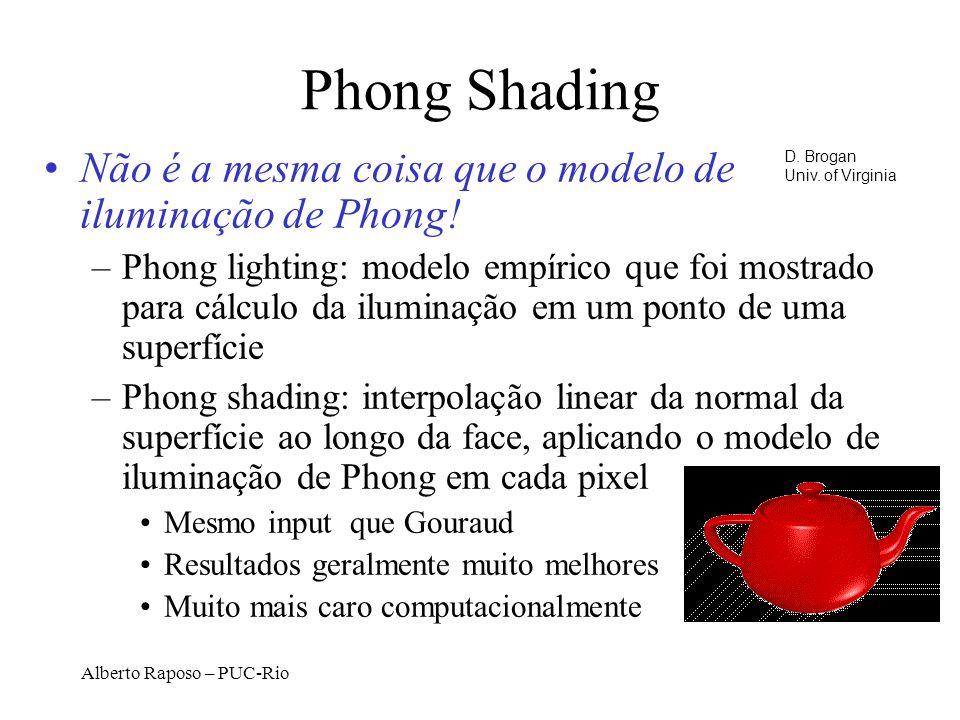 Alberto Raposo – PUC-Rio Phong Shading Não é a mesma coisa que o modelo de iluminação de Phong.