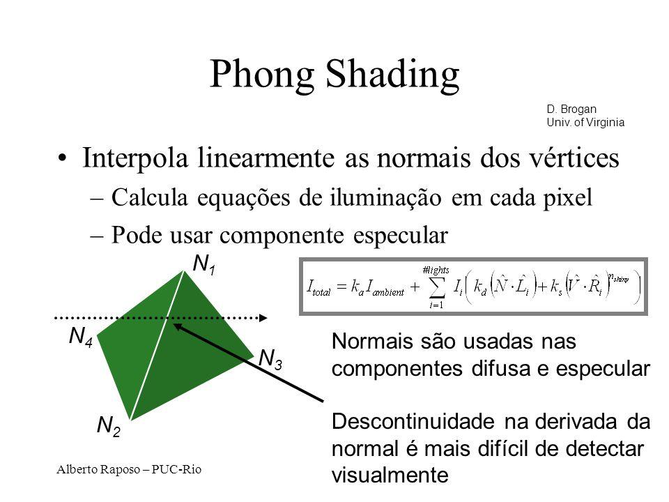 Alberto Raposo – PUC-Rio Phong Shading Interpola linearmente as normais dos vértices –Calcula equações de iluminação em cada pixel –Pode usar componente especular N1N1 N2N2 N3N3 N4N4 Normais são usadas nas componentes difusa e especular Descontinuidade na derivada da normal é mais difícil de detectar visualmente D.