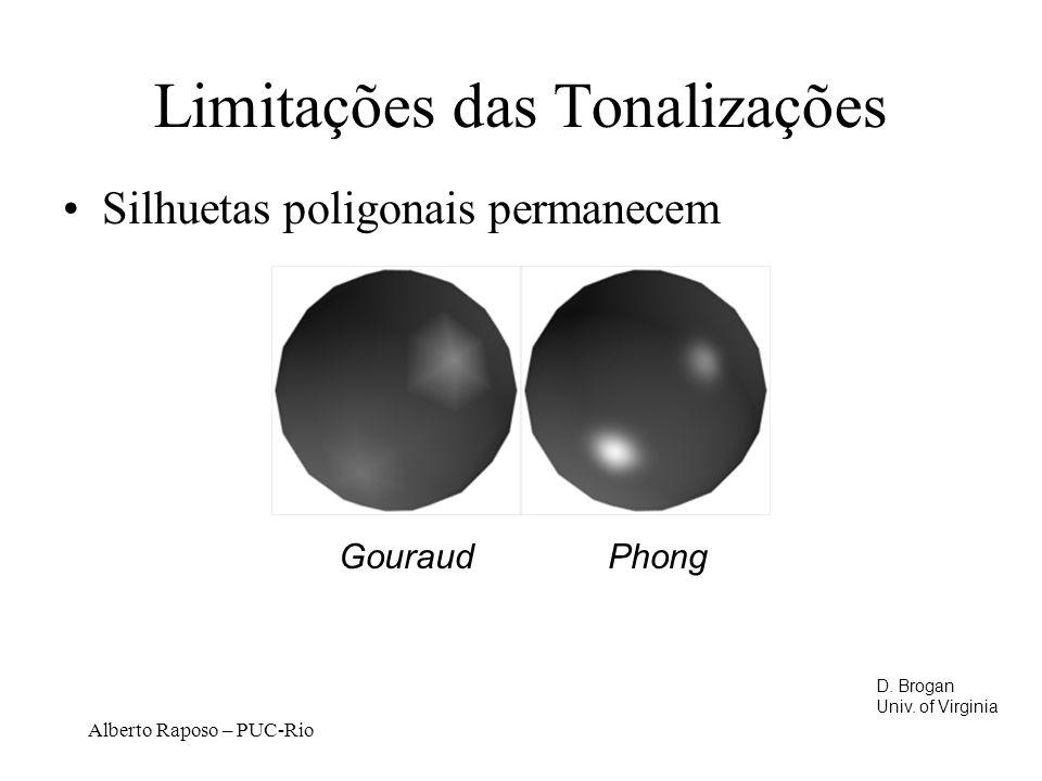 Alberto Raposo – PUC-Rio Limitações das Tonalizações Silhuetas poligonais permanecem Gouraud Phong D.