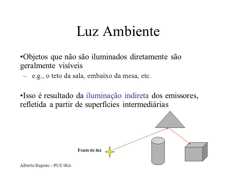 Alberto Raposo – PUC-Rio Luz Ambiente Objetos que não são iluminados diretamente são geralmente visíveis –e.g., o teto da sala, embaixo da mesa, etc.