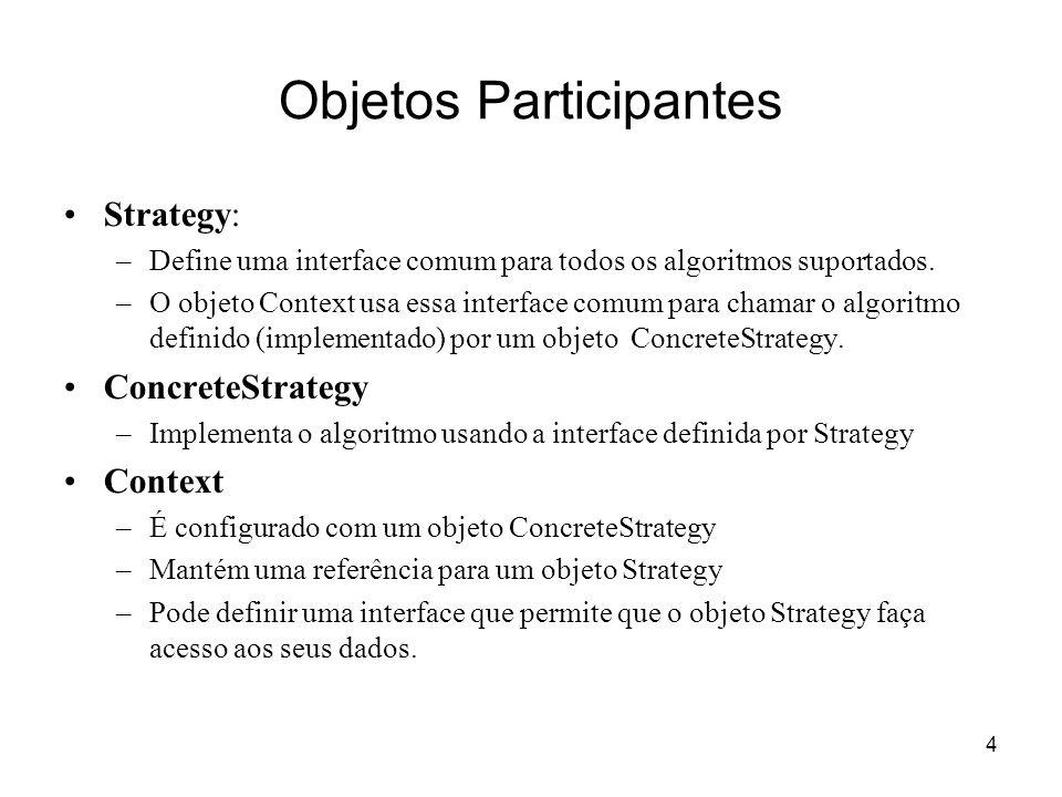 4 Objetos Participantes Strategy: –Define uma interface comum para todos os algoritmos suportados. –O objeto Context usa essa interface comum para cha