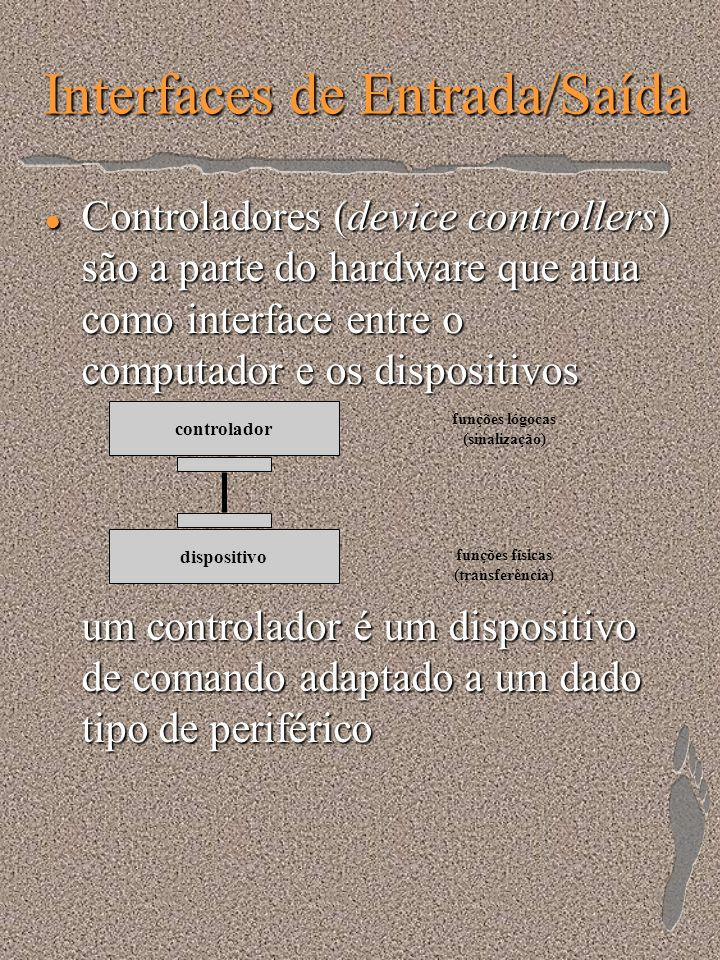 Interfaces de Entrada/Saída l Acesso Direto à Memória (DMA - Direct Memory Access) l Canal de Entrada/Saída –processador especializado de entrada/saída acesso simultâneo entre processadores: conflitoacesso simultâneo entre processadores: conflito resolução de conflitos: dispositivo de acessoresolução de conflitos: dispositivo de acesso prioridade sobre barramento: maior prioridade para o canal (eventos externos) que para a UCPprioridade sobre barramento: maior prioridade para o canal (eventos externos) que para a UCP