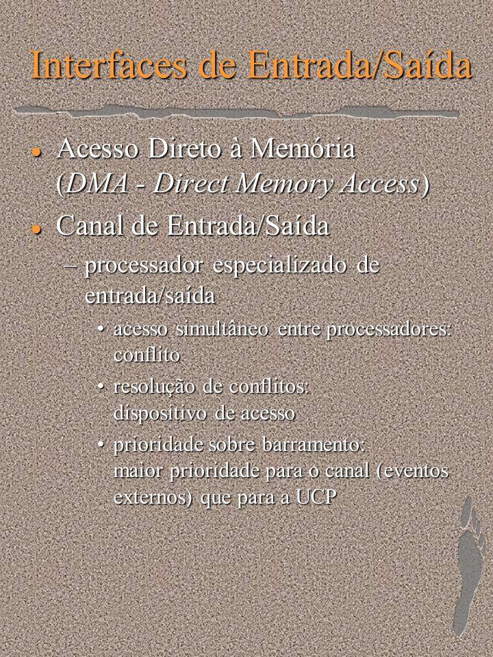 Interfaces de Entrada/Saída l Acesso Direto à Memória (DMA - Direct Memory Access) l Canal de Entrada/Saída –processador especializado de entrada/saíd